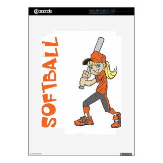 SOFTBALL GIRL BAT TEXT iPad 2 SKINS