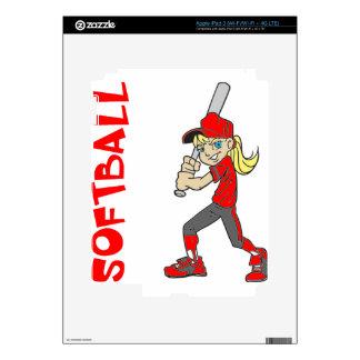 SOFTBALL GIRL BAT TEXT iPad 3 SKINS