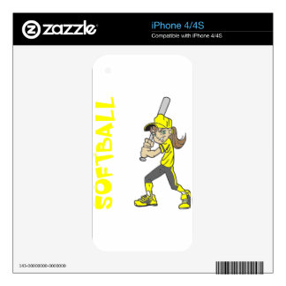 SOFTBALL GIRL BAT TEXT iPhone 4 DECALS