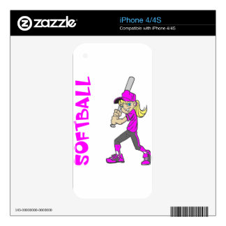 SOFTBALL GIRL BAT TEXT iPhone 4S DECAL