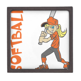 SOFTBALL GIRL BAT TEXT KEEPSAKE BOX