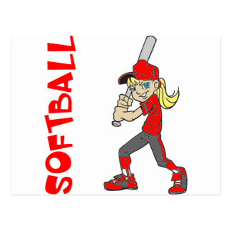 SOFTBALL GIRL BAT TEXT POSTCARD