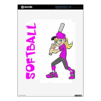 SOFTBALL GIRL BAT TEXT SKINS FOR iPad 2