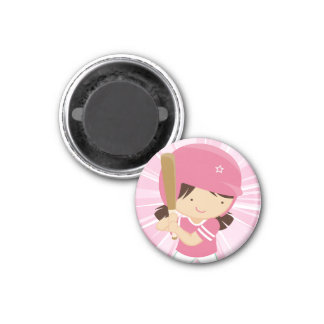 Softball Girl Batter in Pink and White 1 Inch Round Magnet