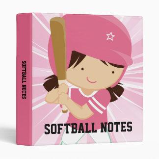 Softball Girl Batter in Pink and White 3 Ring Binder
