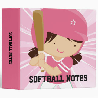 Softball Girl Batter in Pink and White Binder