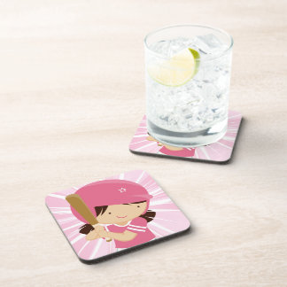 Softball Girl Batter in Pink and White Coaster