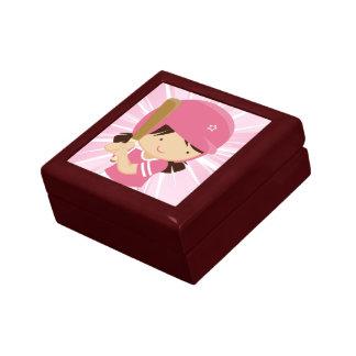 Softball Girl Batter in Pink and White Trinket Box