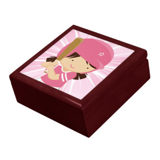 Softball Girl Batter in Pink and White Trinket Box
