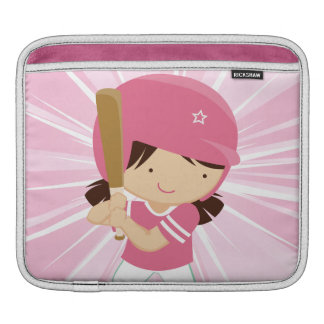 Softball Girl Batter in Pink and White iPad Sleeve