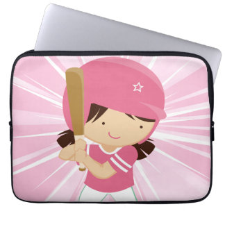 Softball Girl Batter in Pink and White Laptop Computer Sleeves