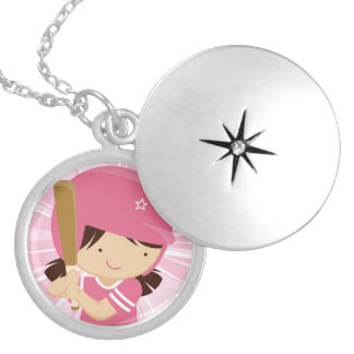 Softball Girl Batter in Pink and White Locket Necklace