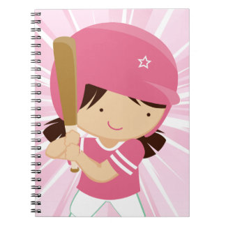 Softball Girl Batter in Pink and White Spiral Note Books