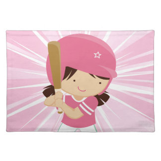 Softball Girl Batter in Pink and White Placemat