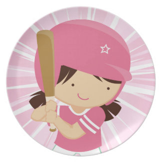 Softball Girl Batter in Pink and White Plate