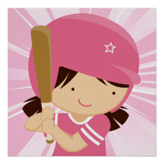 Softball Girl Batter in Pink and White Poster