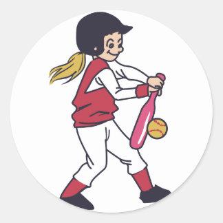 Softball Girl Classic Round Sticker