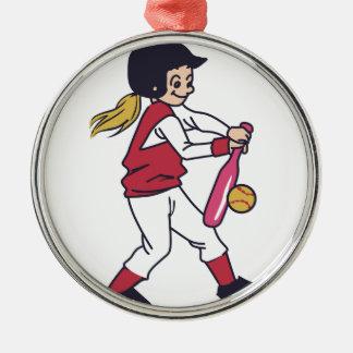 Softball Girl Metal Ornament