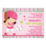 "Softball Girl Pink Birthday Party Invitation 5"" X 7"" Invitation Card"