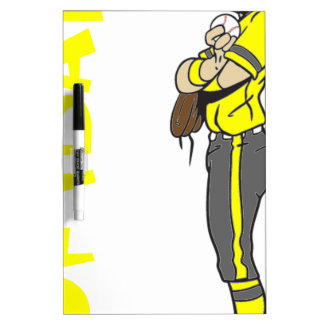SOFTBALL GIRL PITCHER TEXT DRY ERASE BOARD