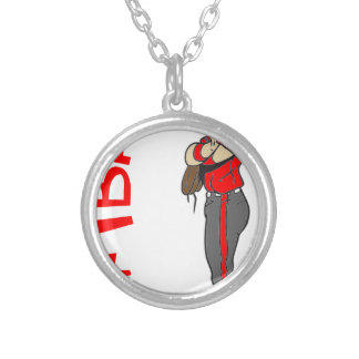 SOFTBALL GIRL PITCHER TEXT SILVER PLATED NECKLACE
