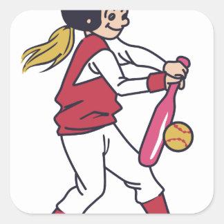 Softball Girl Square Sticker
