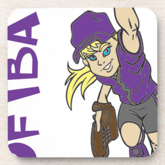 SOFTBALL GIRL THROWING TEXT BEVERAGE COASTER