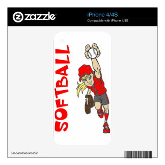 SOFTBALL GIRL THROWING TEXT DECAL FOR iPhone 4