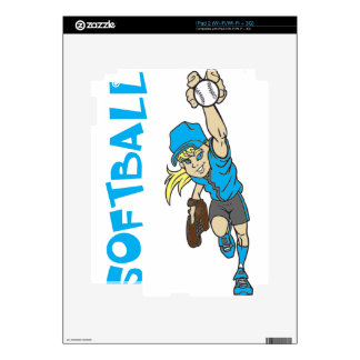 SOFTBALL GIRL THROWING TEXT DECAL FOR THE iPad 2