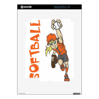 SOFTBALL GIRL THROWING TEXT DECALS FOR iPad 2