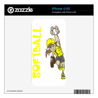SOFTBALL GIRL THROWING TEXT DECALS FOR iPhone 4