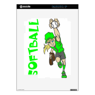 SOFTBALL GIRL THROWING TEXT DECALS FOR THE iPad 2