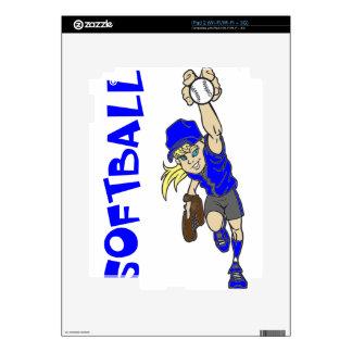SOFTBALL GIRL THROWING TEXT iPad 2 DECAL