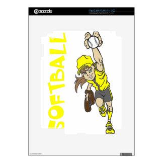 SOFTBALL GIRL THROWING TEXT iPad 2 SKIN