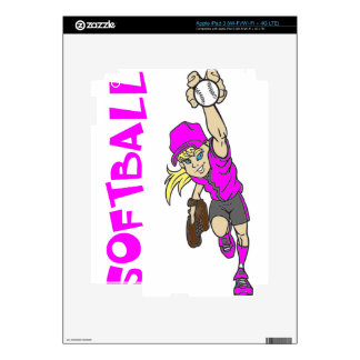 SOFTBALL GIRL THROWING TEXT iPad 3 DECALS