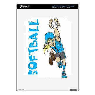 SOFTBALL GIRL THROWING TEXT iPad 3 SKINS