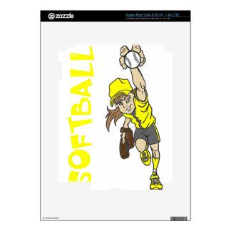 SOFTBALL GIRL THROWING TEXT SKINS FOR iPad 3
