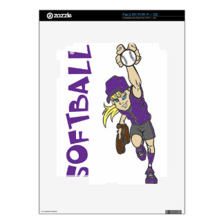 SOFTBALL GIRL THROWING TEXT SKINS FOR THE iPad 2