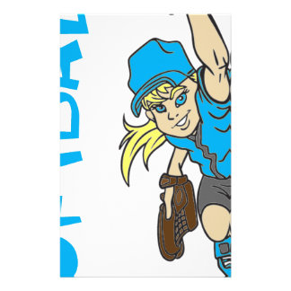 SOFTBALL GIRL THROWING TEXT STATIONERY