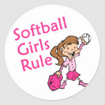 Softball Girls Rule Classic Round Sticker