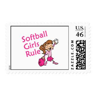 Softball Girls Rule Postage Stamp