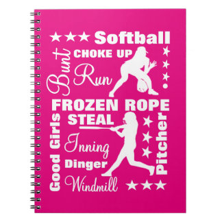 Softball Girls Sports Terminoligy Words Typography Notebook