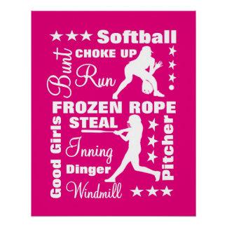 Softball Girls Sports Terminoligy Words Typography Poster
