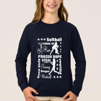 Softball Girls Sports Terminoligy Words Typography Sweatshirt