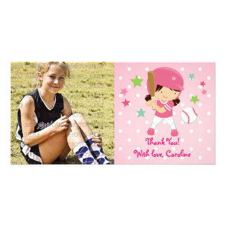 Softball Girly Thank You Personalized Card
