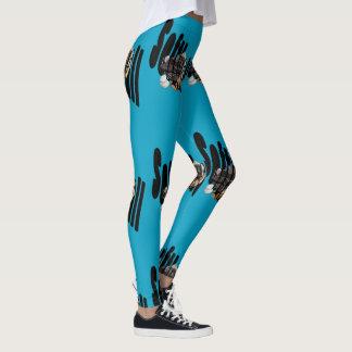 Softball Gloves Logo, Ladies Blue Leggings