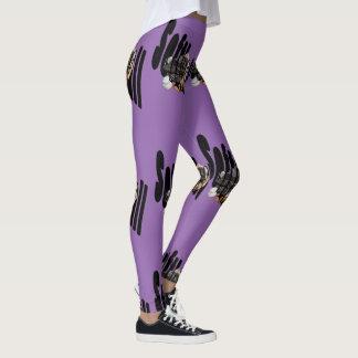 Softball Gloves Logo, Ladies Purple Leggings