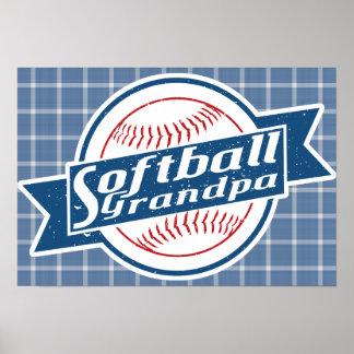 Softball Grandpa Art Poster