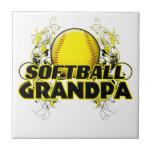 Softball Grandpa (cross).png Ceramic Tiles