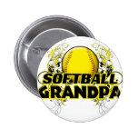 Softball Grandpa (cross).png Pinback Buttons